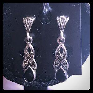 Vintage black onyx marcasite earrings